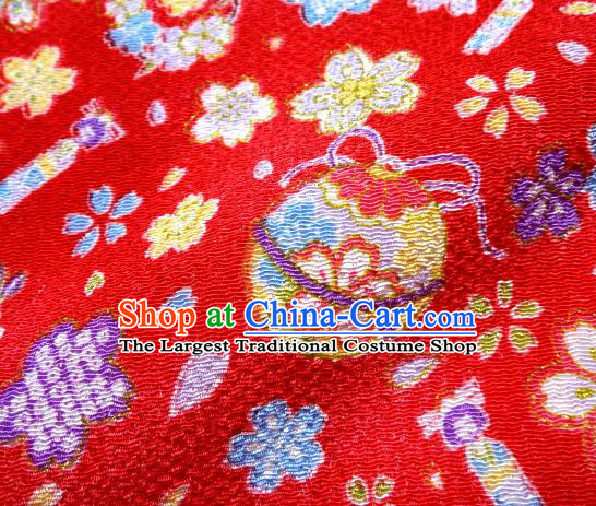 Asian Traditional Kimono Classical Sakura Bells Pattern Red Brocade Tapestry Satin Fabric Japanese Silk Material