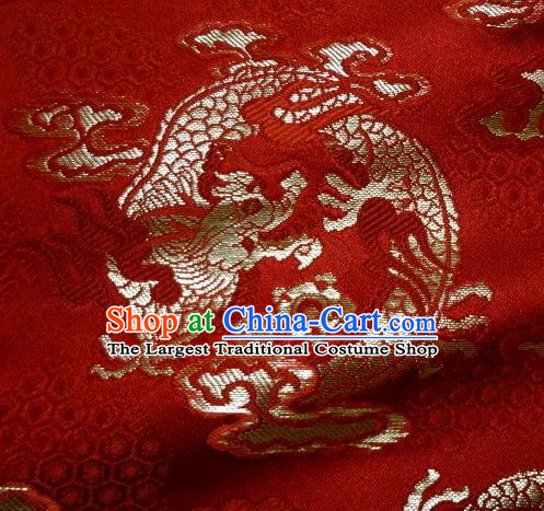 Asian Traditional Kimono Classical Dragon Pattern Red Nishijin Brocade Tapestry Satin Fabric Japanese Silk Material