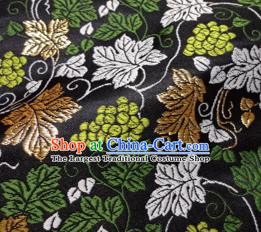 Asian Traditional Kimono Classical Grape Vine Pattern Black Nishijin Brocade Tapestry Satin Fabric Japanese Silk Material