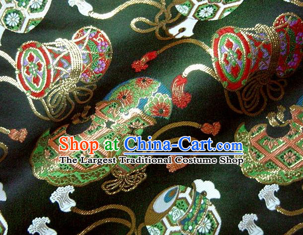 Asian Traditional Kimono Classical Drum Pattern Green Nishijin Brocade Tapestry Satin Fabric Japanese Silk Material