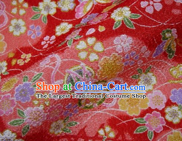 Asian Traditional Classical Butterfly Sakura Pattern Red Brocade Tapestry Satin Fabric Japanese Kimono Silk Material