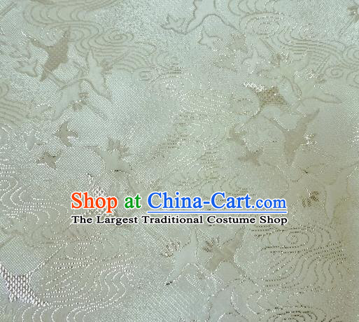 Asian Traditional Kimono Classical Cranes Pattern White Nishijin Brocade Tapestry Satin Fabric Japanese Silk Material