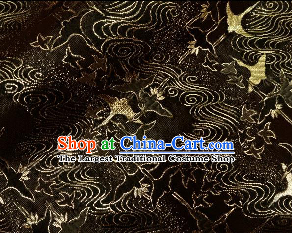 Asian Traditional Kimono Classical Cranes Pattern Black Nishijin Brocade Tapestry Satin Fabric Japanese Silk Material