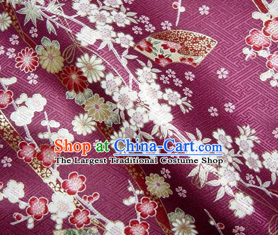 Asian Traditional Kimono Classical Sakura Pattern Purple Nishijin Brocade Tapestry Satin Fabric Japanese Silk Material