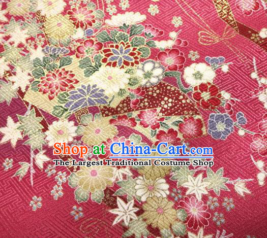 Asian Traditional Kimono Classical Sakura Pattern Rosy Nishijin Brocade Tapestry Satin Fabric Japanese Silk Material