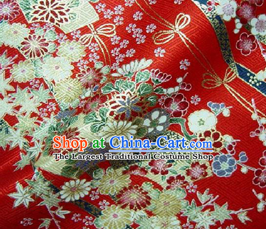 Asian Traditional Kimono Classical Sakura Pattern Red Nishijin Brocade Tapestry Satin Fabric Japanese Silk Material