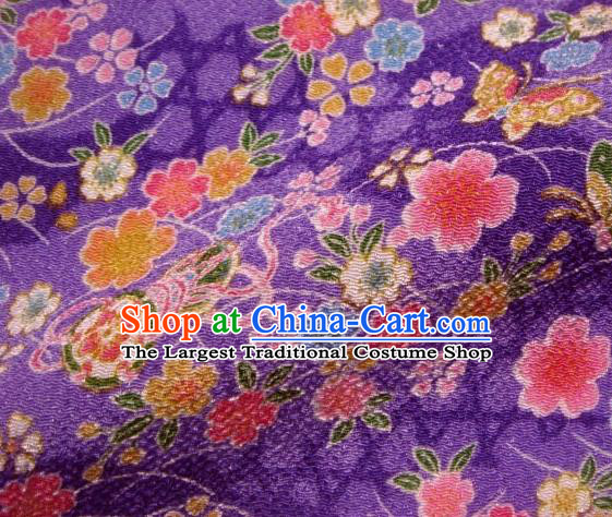 Asian Traditional Classical Butterfly Sakura Pattern Purple Brocade Tapestry Satin Fabric Japanese Kimono Silk Material