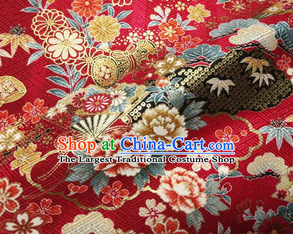 Asian Traditional Kimono Classical Peony Pattern Red Brocade Tapestry Satin Fabric Japanese Kyoto Silk Material
