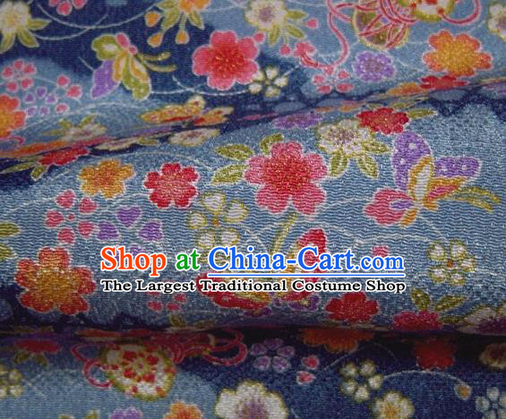 Asian Traditional Classical Butterfly Sakura Pattern Blue Brocade Tapestry Satin Fabric Japanese Kimono Silk Material