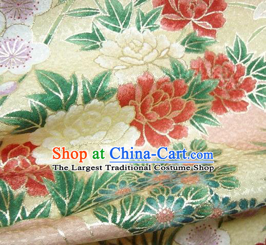 Asian Traditional Kimono Classical Peony Orchid Pattern Golden Brocade Tapestry Satin Fabric Japanese Kyoto Silk Material