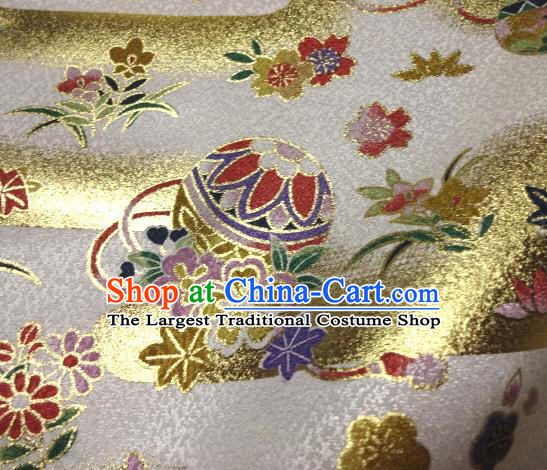 Asian Traditional Kimono Classical Ball Pattern White Brocade Tapestry Satin Fabric Japanese Kyoto Silk Material