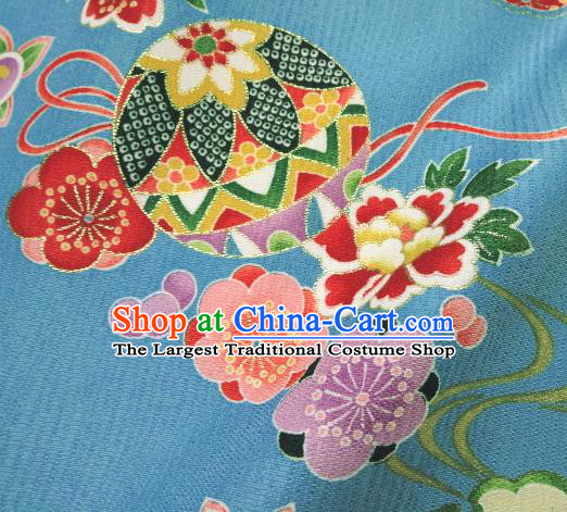 Asian Traditional Kimono Classical Ball Pattern Blue Brocade Tapestry Satin Fabric Japanese Kyoto Silk Material