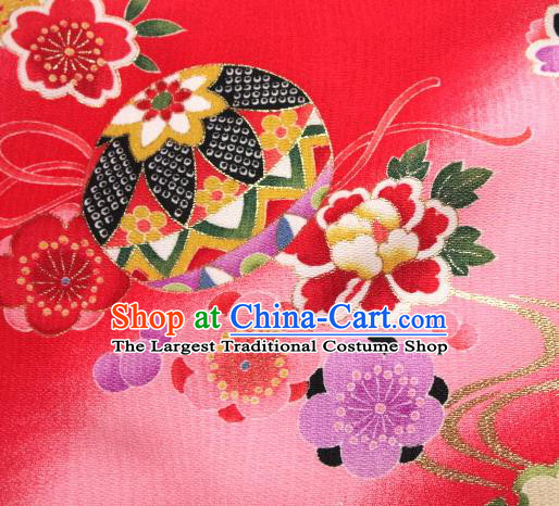 Asian Traditional Kimono Classical Ball Pattern Pink Brocade Tapestry Satin Fabric Japanese Kyoto Silk Material