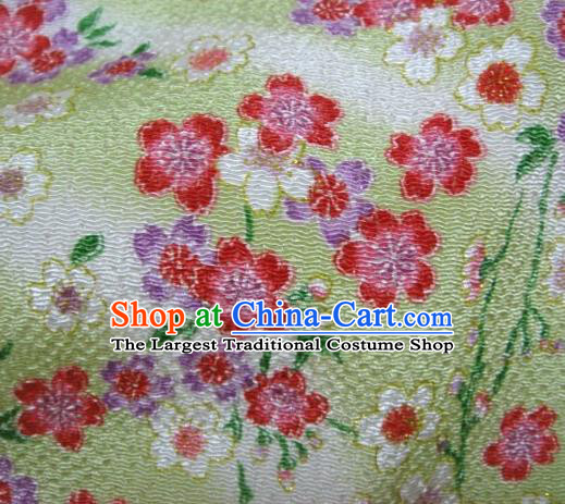 Asian Traditional Classical Sakura Pattern Green Brocade Tapestry Satin Fabric Japanese Kimono Silk Material