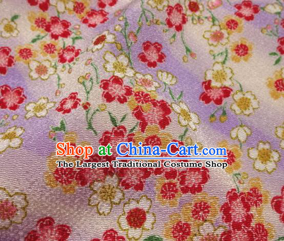 Asian Traditional Classical Sakura Pattern Violet Brocade Tapestry Satin Fabric Japanese Kimono Silk Material
