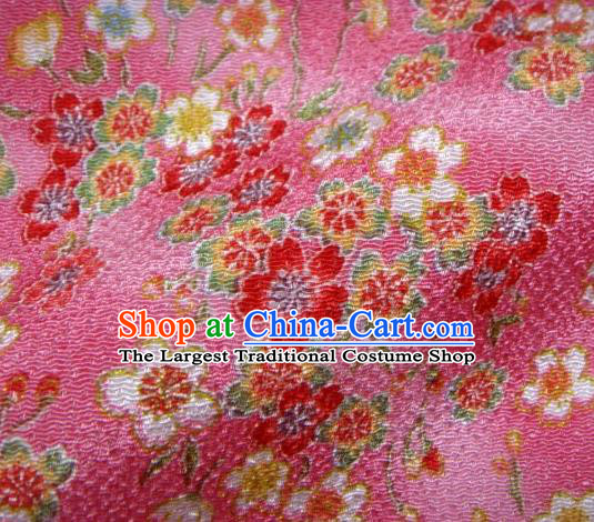 Asian Traditional Classical Sakura Pattern Rosy Brocade Tapestry Satin Fabric Japanese Kimono Silk Material