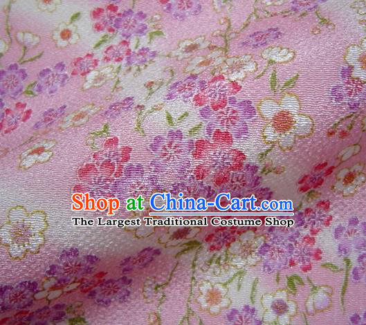Asian Traditional Classical Sakura Pattern Pink Brocade Tapestry Satin Fabric Japanese Kimono Silk Material