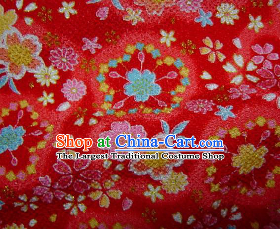 Asian Traditional Classical Sakura Pattern Red Brocade Tapestry Satin Fabric Japanese Kimono Silk Material