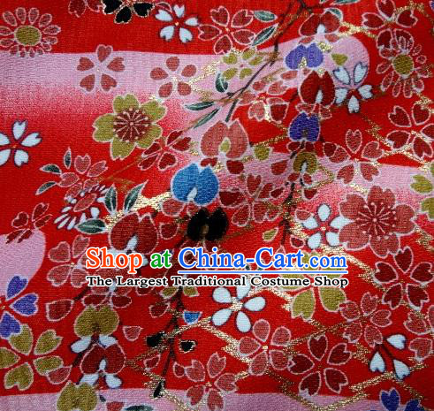 Asian Traditional Kimono Classical Sakura Pattern Red Brocade Tapestry Satin Fabric Japanese Kyoto Silk Material