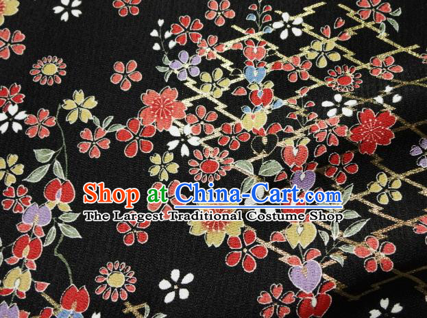 Asian Traditional Kimono Classical Primula Obconica Hance Pattern Black Brocade Tapestry Satin Fabric Japanese Kyoto Silk Material