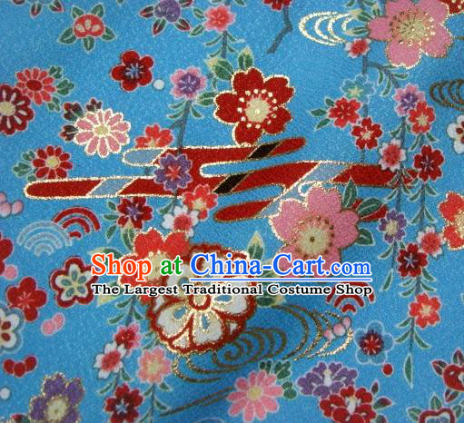 Asian Traditional Kimono Classical Primula Obconica Hance Pattern Blue Brocade Tapestry Satin Fabric Japanese Kyoto Silk Material