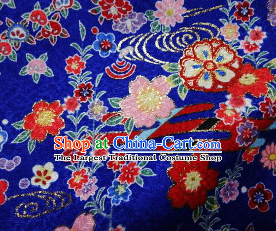 Asian Traditional Kimono Classical Primula Obconica Hance Pattern Royalblue Brocade Tapestry Satin Fabric Japanese Kyoto Silk Material