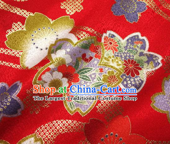 Asian Traditional Kimono Classical Sakura Pattern Red Damask Brocade Tapestry Satin Fabric Japanese Kyoto Silk Material