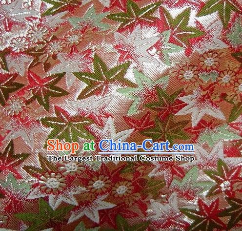 Asian Traditional Classical Maple Leaf Pattern Damask Pink Brocade Fabric Japanese Kimono Tapestry Satin Silk Material