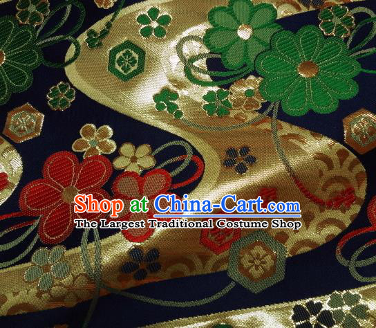 Asian Traditional Damask Classical Pattern Navy Brocade Fabric Japanese Kimono Tapestry Satin Silk Material