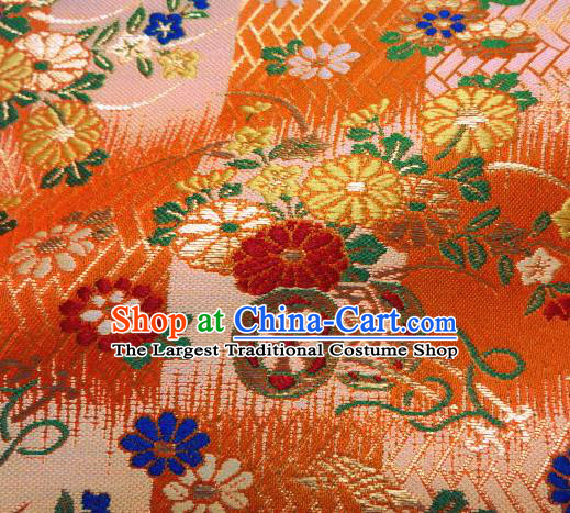 Asian Traditional Damask Classical Pattern Orange Brocade Fabric Japanese Kimono Tapestry Satin Silk Material