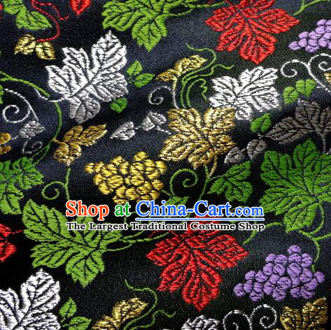 Asian Traditional Damask Classical Grape Pattern Black Brocade Fabric Japanese Kimono Tapestry Satin Silk Material