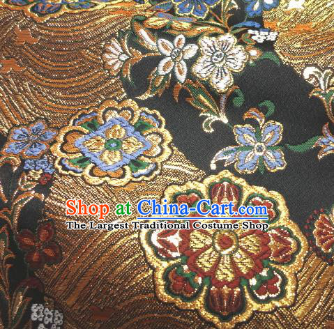Asian Traditional Damask Classical Hothouse Flowers Pattern Black Brocade Fabric Japanese Kimono Tapestry Satin Silk Material