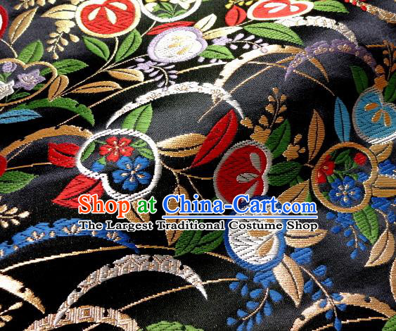 Asian Traditional Damask Classical Cherry Pattern Black Brocade Fabric Japanese Kimono Tapestry Satin Silk Material