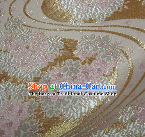 Asian Traditional Baldachin Classical Sakura Pattern Golden Brocade Fabric Japanese Kimono Tapestry Satin Silk Material