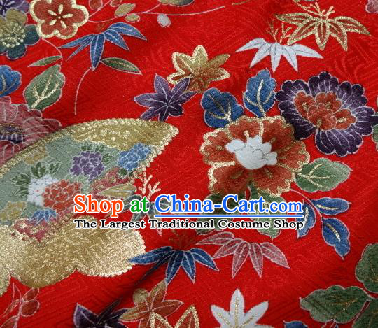 Asian Traditional Kimono Classical Flowers Pattern Red Damask Brocade Fabric Japanese Kyoto Tapestry Satin Silk Material