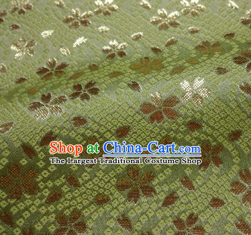 Asian Traditional Baldachin Classical Sakura Pattern Green Brocade Fabric Japanese Kimono Tapestry Satin Silk Material