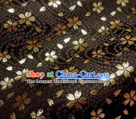 Asian Traditional Baldachin Classical Sakura Pattern Black Brocade Fabric Japanese Kimono Tapestry Satin Silk Material