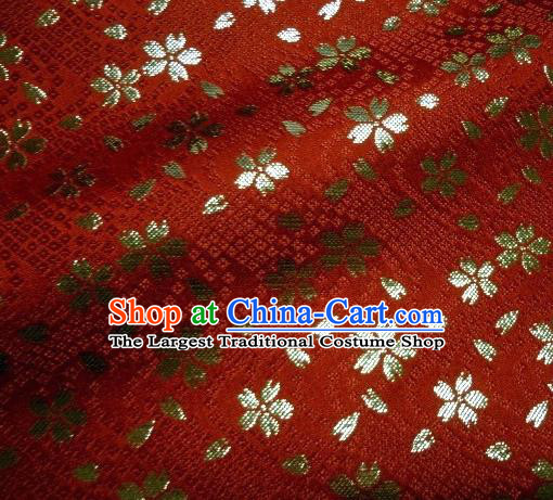 Asian Traditional Baldachin Classical Sakura Pattern Red Brocade Fabric Japanese Kimono Tapestry Satin Silk Material
