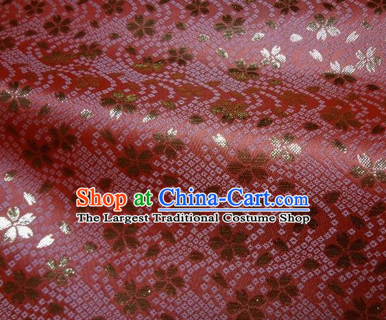 Asian Traditional Baldachin Classical Sakura Pattern Rosy Brocade Fabric Japanese Kimono Tapestry Satin Silk Material
