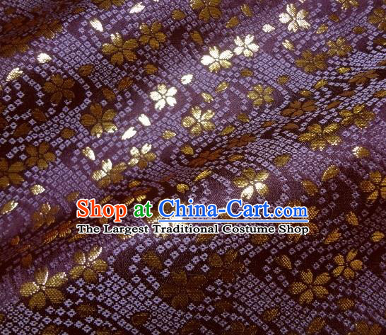 Asian Traditional Baldachin Classical Sakura Pattern Purple Brocade Fabric Japanese Kimono Tapestry Satin Silk Material