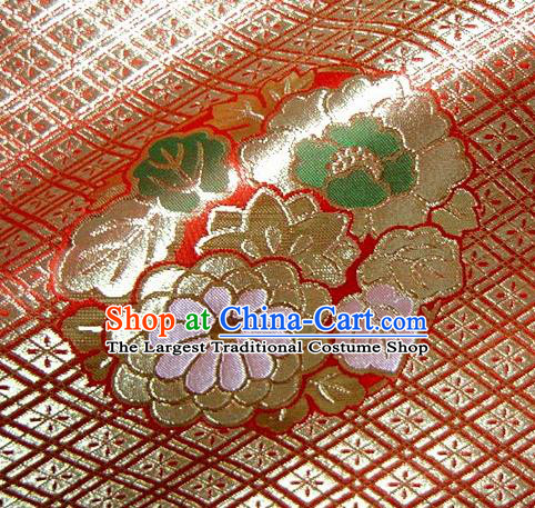 Asian Traditional Baldachin Classical Four Flowers Pattern Red Brocade Fabric Japanese Kimono Tapestry Satin Silk Material