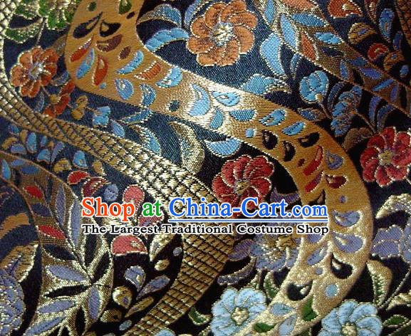 Asian Traditional Baldachin Classical Flowers Pattern Navy Brocade Fabric Japanese Kimono Tapestry Satin Silk Material