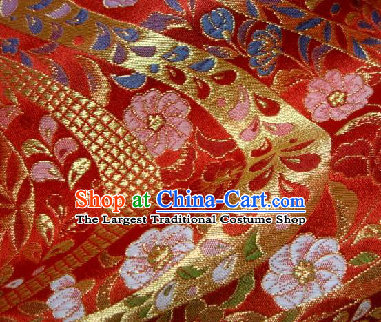 Asian Traditional Baldachin Classical Flowers Pattern Red Brocade Fabric Japanese Kimono Tapestry Satin Silk Material