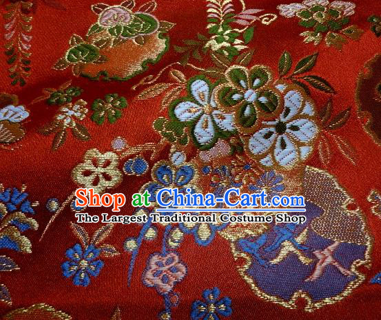 Asian Traditional Red Baldachin Classical Sakura Pattern Brocade Fabric Japanese Kimono Tapestry Satin Silk Material