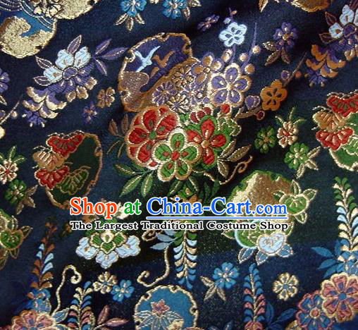 Asian Traditional Navy Baldachin Classical Sakura Pattern Brocade Fabric Japanese Kimono Tapestry Satin Silk Material