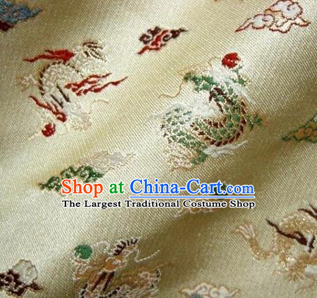 Asian Traditional Baldachin Classical Dragon Pattern Golden Brocade Fabric Japanese Kimono Tapestry Satin Silk Material