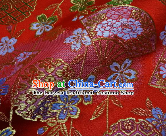 Asian Traditional Classical Sakura Fan Pattern Damask Red Brocade Fabric Japanese Kimono Tapestry Satin Silk Material
