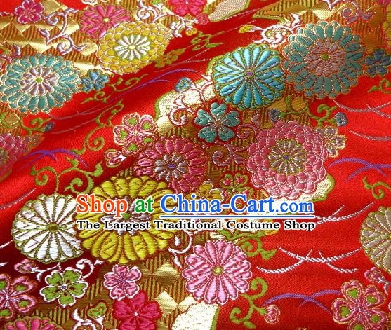 Asian Traditional Classical Pattern Damask Red Brocade Fabric Japanese Kimono Tapestry Satin Silk Material