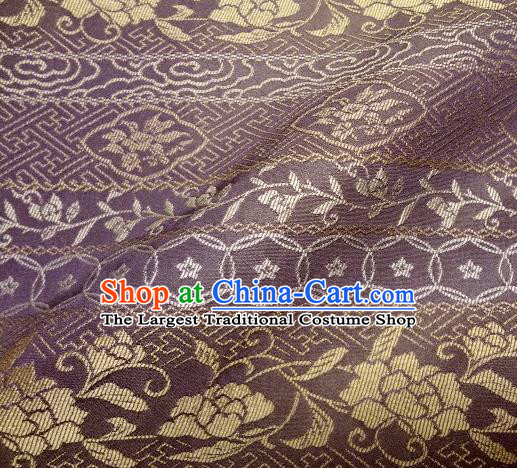 Asian Traditional Kimono Classical Roses Pattern Purple Damask Brocade Fabric Japanese Kyoto Tapestry Satin Silk Material