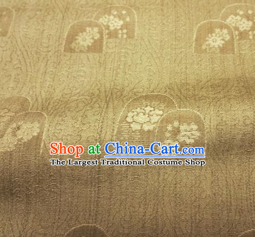 Asian Traditional Kimono Classical Pattern Golden Damask Brocade Fabric Japanese Kyoto Tapestry Satin Silk Material